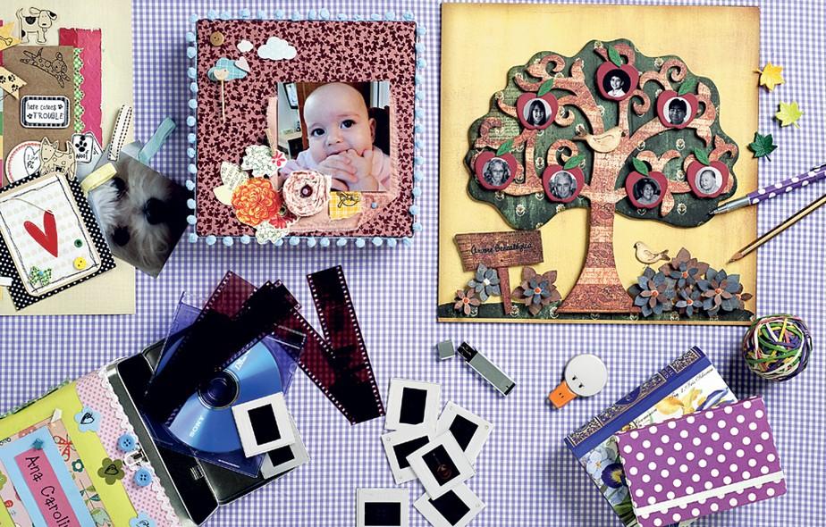 Álbuns de fotos. Sejam poucas ou muitas as fotos da sua família, sua mãe dá sempre um jeitinho de mantê-las organizadas em álbuns ou porta-retratos.