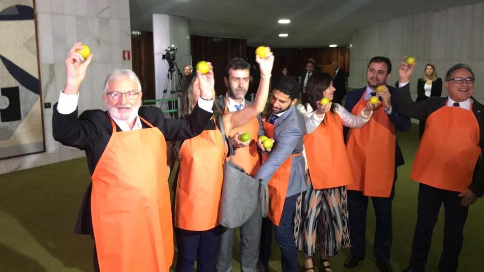 """Parlamentares do PSOL se vestiram de laranja para fazer referência ao """"laranjal"""" do PSL durante passagem de Bolsonaro pelo Congresso — Foto: Guilherme Mazui/G1"""