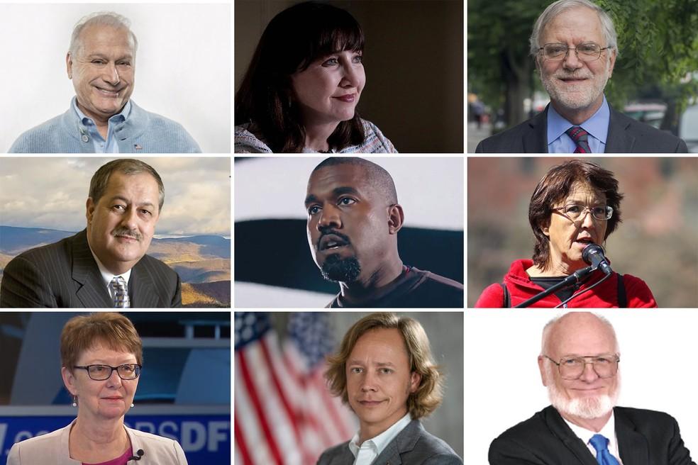 Combinação de fotos mostra os candidatos independentes e de partidos de terceira via que disputam os votos de Trump e Biden na eleição presidencial dos EUA em 2020 — Foto: Divulgação