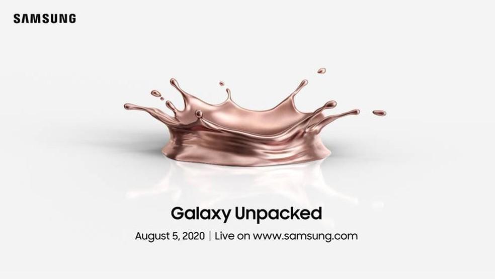 Convite para o evento Unpacked faz mistério sobre chegada do Galaxy Note 20 — Foto: Reprodução/Samsung