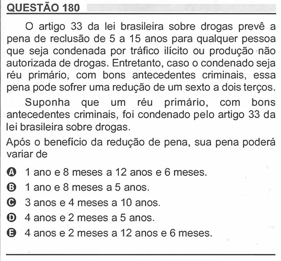 Enem 2018 - Prova Rosa - Pergunta 180 (Matemática) — Foto: Reprodução