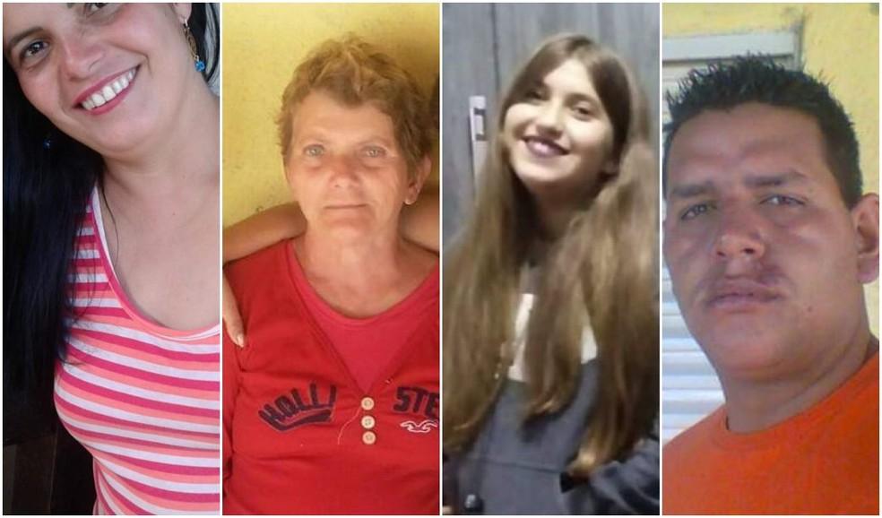 Marli, de 34 anos; a mãe dela, Catarina, de 64; a filha, Marina, de 14; e o sobrinho, Fernando, de 30, foram algumas das vítimas — Foto: Reprodução/Redes Sociais