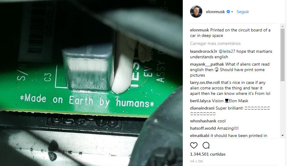 Foto publicada por Musk (Foto: Reprodução/Instagram)