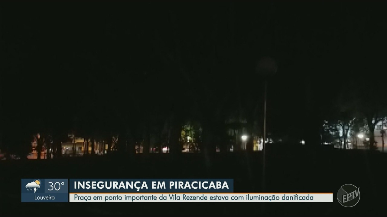 Após reclamação, iluminação de praça é revitalizada em Piracicaba