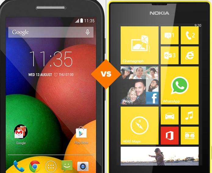 Moto E ou Lumia 520? Veja qual smartphone leva a melhor neste comparativo da semana (Foto: Arte/TechTudo)