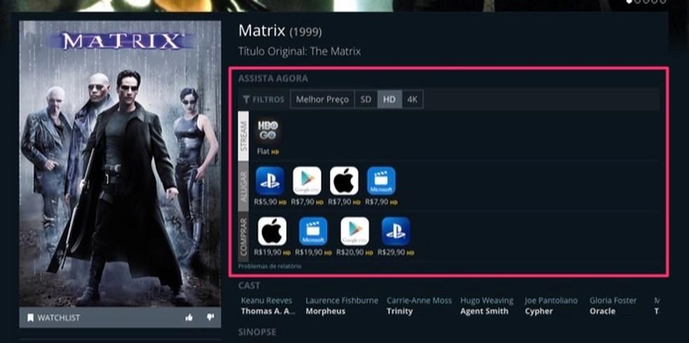 Tela com informações sobre um filme ou série em serviço de streaming no site JustWatch — Foto: Reprodução/Marvin Costa
