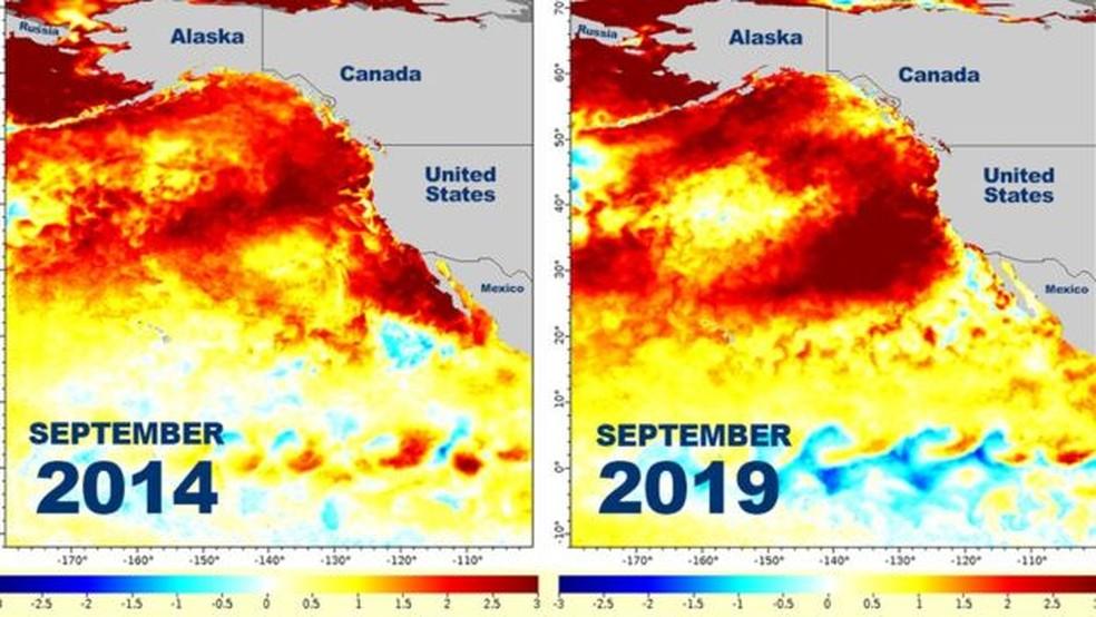 Este gráfico mostra como zonas de mar quente foram produzidas nos EUA em setembro de 2014 e no mesmo mês de 2019 — Foto: NOAA/BBC