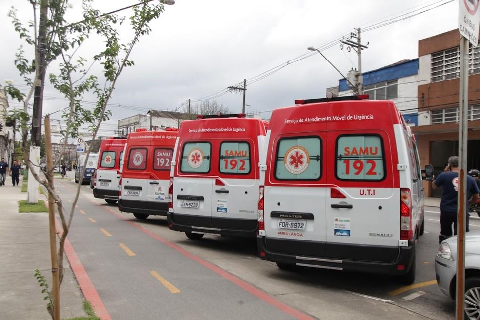 Ambulâncias do Samu entregues em dezembro pelo ministro da Saúde na Baixada Santista, em São Paulo (Foto: Raimundo Rosa, Prefeitura de Santos)