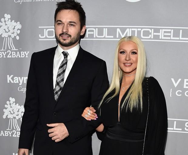 O casal Christina Aguilera e Matthew Rutler  (Foto: Alberto E. Rodriguez/Getty Images)