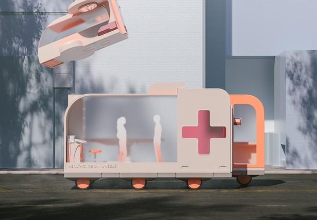 Atendimento médico pode ganhar agilidade com os carros autônomos (Foto: Space 10)