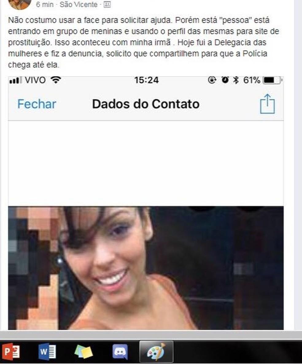Vítima, cuja foto está associada a perfil fake, foi ameaçada após imagens compartilhadas (Foto: Reprodução)