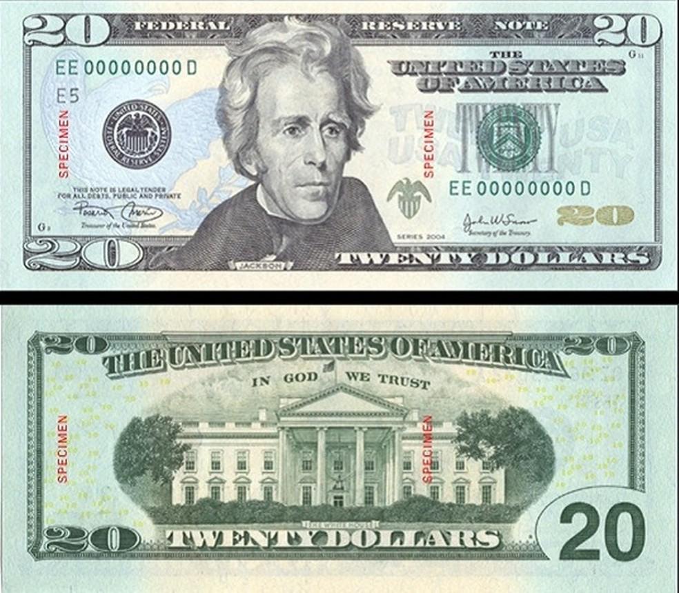 Nota de US$ 20 tem imagem do presidente Andrew Jackson desde 1928 — Foto: REUTERS/Bureau of Engraving and Printing