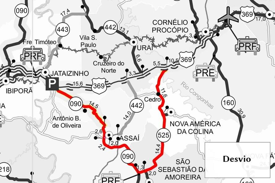 Trecho da BR-369, no norte do Paraná, vai ser interditado para detonação de rochas