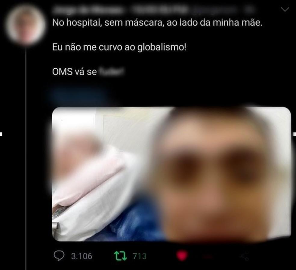 Jovem faz 'selfie' sem máscara ao lado da mãe internada em hospital de Jundiaí — Foto: Reprodução/Twitter
