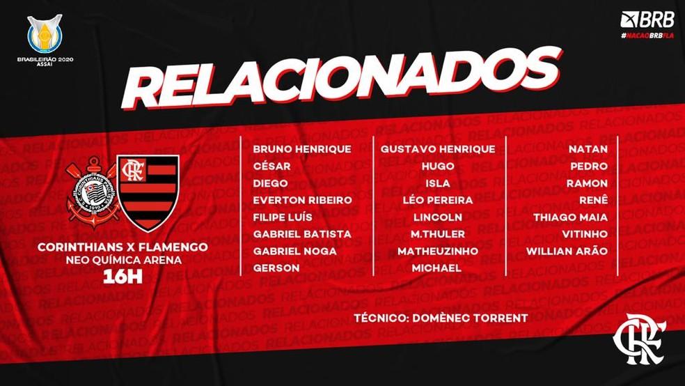Lista do Flamengo para o duelo com Corinthians — Foto: Divulgação