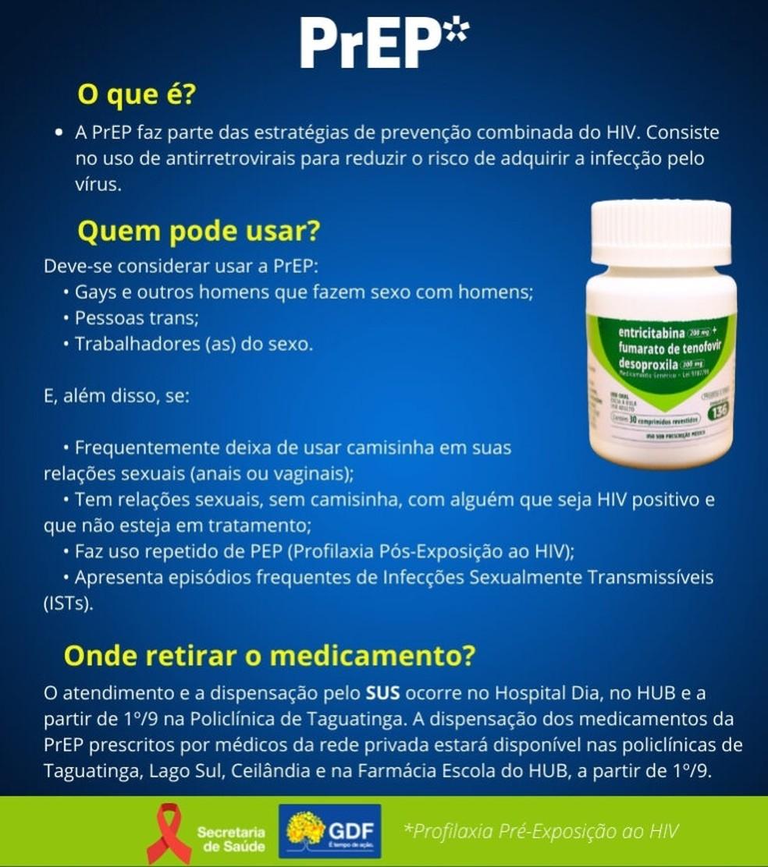 Profilaxia Pré-Exposição (PrEP) ao HIV — Foto: SES-DF/Divulgação