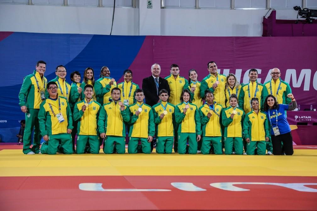 Equipe de Judô do Brasil no Pan — Foto: Pedro Ramos/ rededoesporte.gov.br