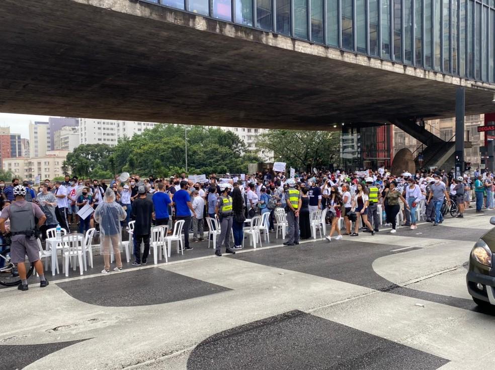 Protesto no Vão Livre do Masp nesta terça-feira (2), na Avenida Paulista, Centro da capital paulista. — Foto: Abraão Cruz/TV Globo