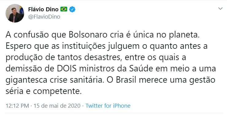 """Flávio Dino critica saída de Nelson Teich da Saúde: """"O Brasil merece uma gestão séria"""""""