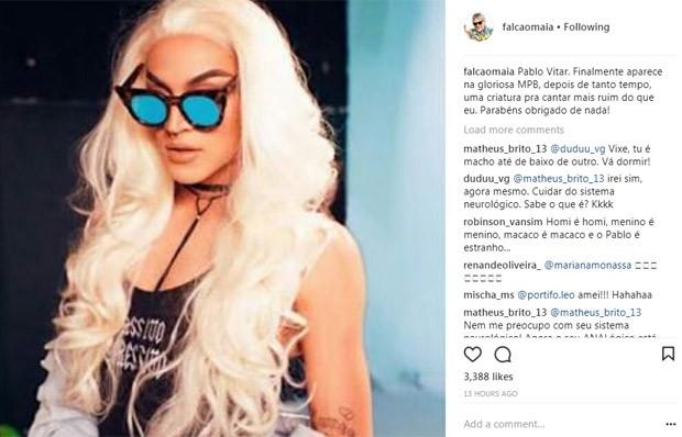Falcão critica Pabllo Vittar em seu Instagram (Foto: Reprodução/Instagram)