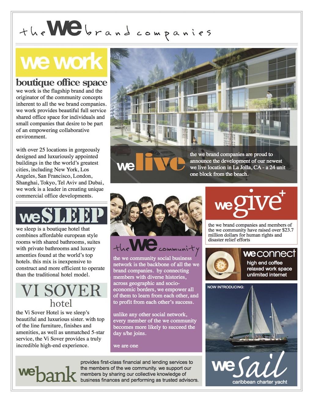 Folheto de apresentação do WeWork, feito em 2009, previa outras atividades para a empresa, com WeBank e WeSleep (Foto: Reprodução/We Company)