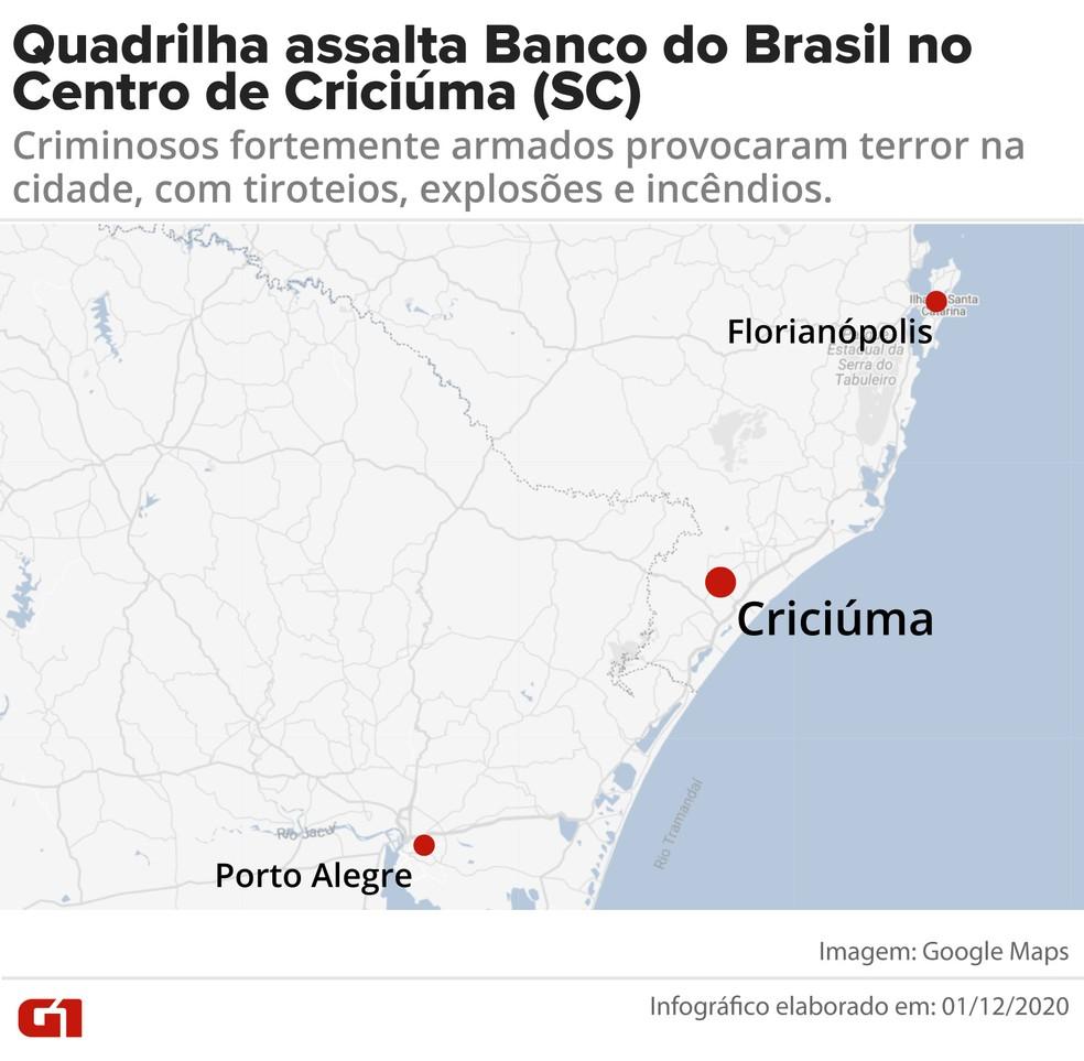 Onde fica Criciúma — Foto: Arte-G1