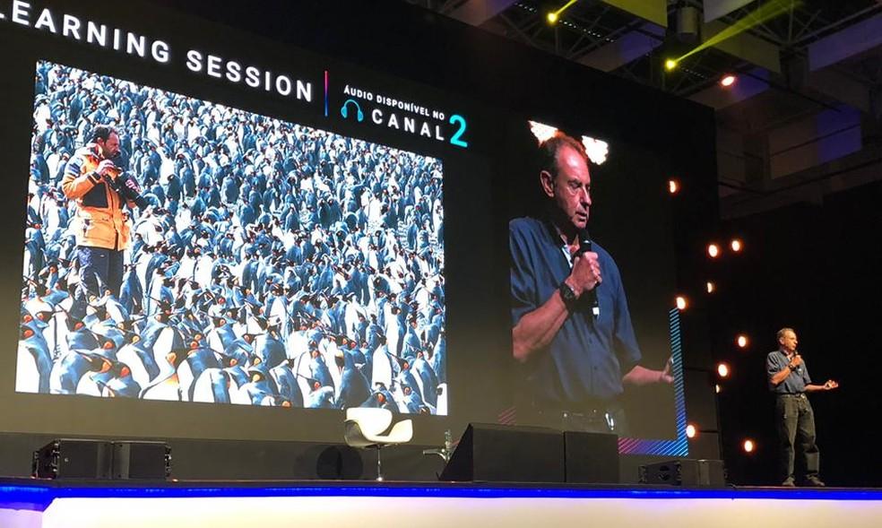 Amyr Klink no evento  Expert da XP em Florianópolis, em novembro de 2019 — Foto: Divulgação XP