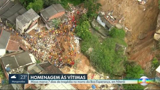 Moradores do Morro Boa Esperança fazem missa em memória de vítimas de deslizamento