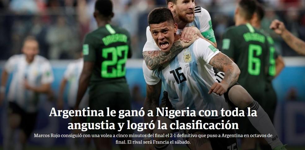 Clarin Argentina x Nigéria (Foto: Reprodução)