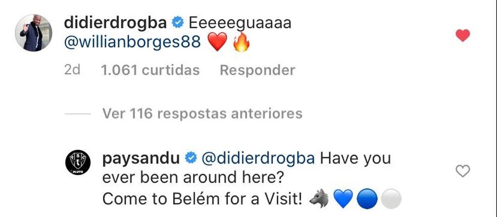 Paysandu faz convite para Drogba após o ex-atacante utilizar gíria do Pará — Foto: Reprodução/Instagram