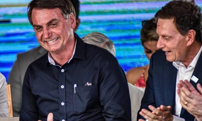 Jair Bolsonaro e Marcelo Crivella na inauguração da alça de ligação da Ponte Rio-Niterói à Linha Vermelha