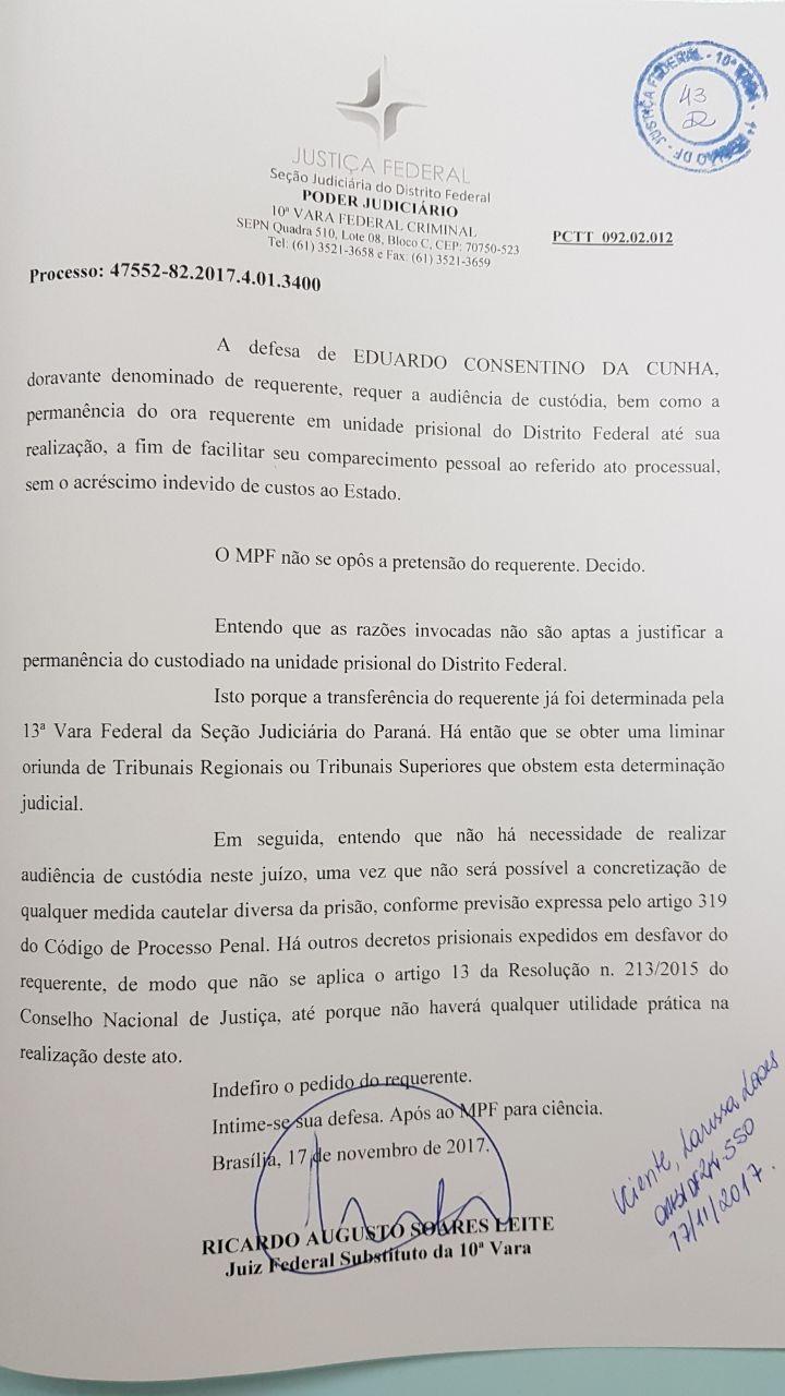 Juiz do DF nega pedido de Cunha para permanecer em Brasília
