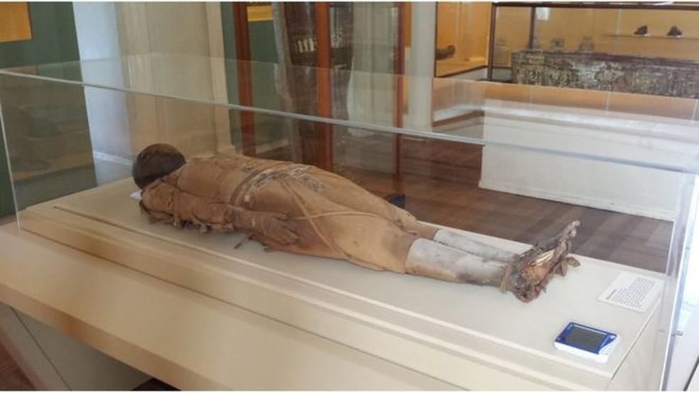 Múmia Kherima, queimada no Museu Nacional (Foto: BBC)