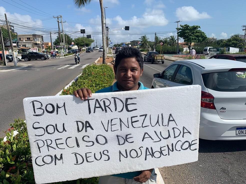 O venezuelano Wilame Matarazza integra o grupo que chegou a Natal — Foto: Anna Alyne Cunha/Inter TV Cabugi