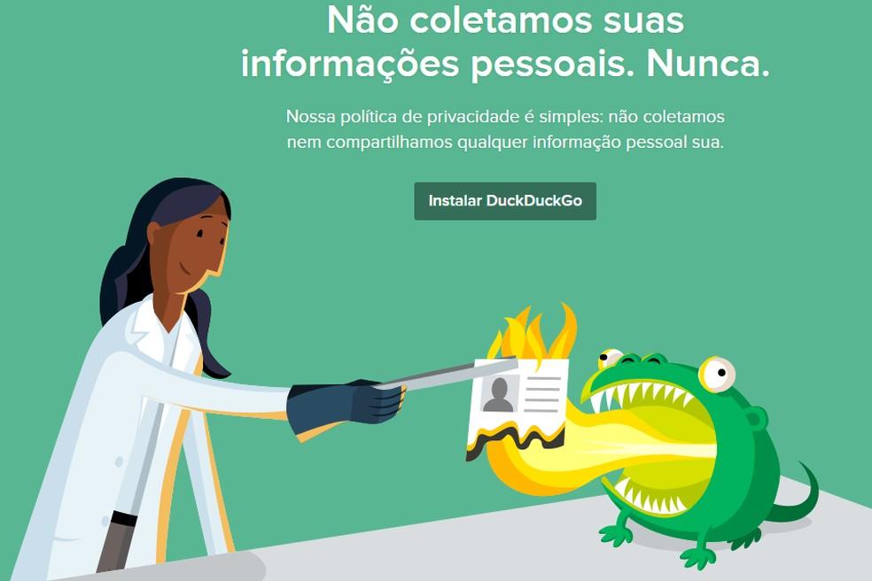 DuckDuckG, buscador focado em privacidade, promete não coletar dados pessoais de usuários — Foto: Reprodução/TechTudo