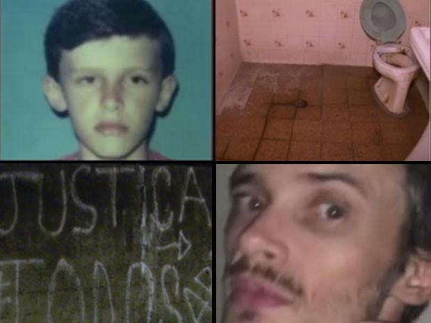 Do alto à esquerda para a direita, em sentido horário: Armando na adolescência; banheiro usado por ele no quarto onde ficou; o homem como foi encontrado e muro da casa pichado pelos moradores (Foto: Reprodução/Globo News)
