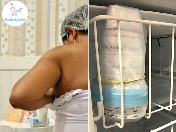 Lactante doando leite e potinho armazenado no freezer: primeira atividade do Fadas do Leite no fraldário do Shopping Center Norte (Foto: Divulgação)