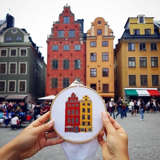 Charles Henry e Elin Petronella criam bordados dos lugares que conhecem (Foto: Reprodução/Instagram)