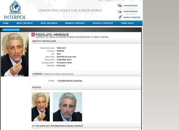 Henrique Pizzolato (Foto: Interpol/Reprodução)