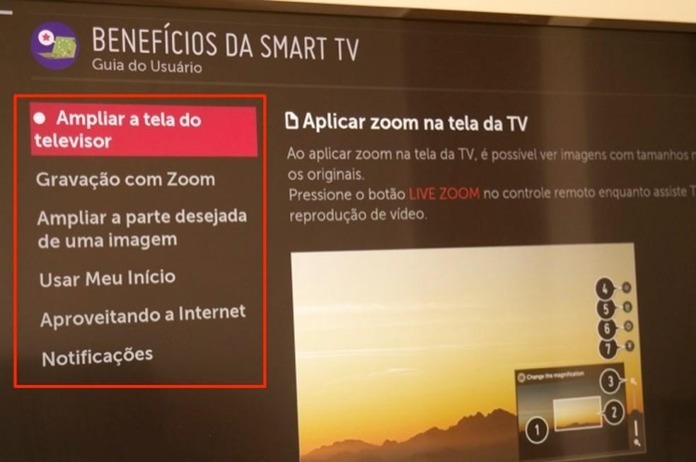 Dicas sobre funções de uma smart TV da LG com WebOS — Foto: Reprodução/Marvin Costa