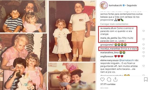 Fas comentam semelhança de Karina Bacchi na infância com Enrico (Foto: Reprodução/Instagram)