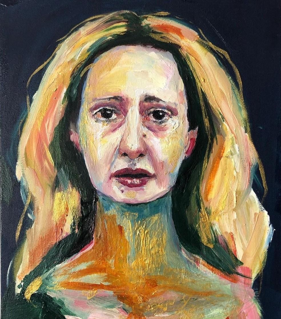 Letícia Novaes em pintura de Maria Flexa exposta na capa do álbum 'Letrux aos prantos' — Foto: Pintura de Maria Flexa