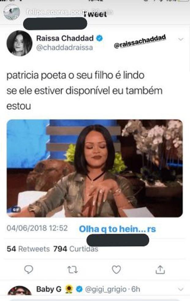 Felipe Poeta compartilhou post de Raissa Chaddad (Foto: Reprodução/Instagram)