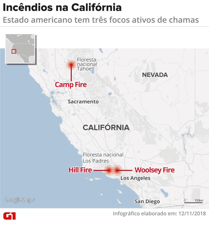 Mapa mostra incêndios ativos na Califórnia — Foto: Juliane Monteiro / G1