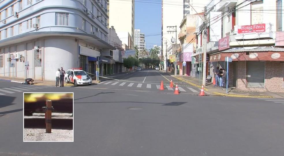Centro de Araçatuba (SP) amanheceu vazio nesta segunda-feira (30) — Foto: Reprodução/TV TEM