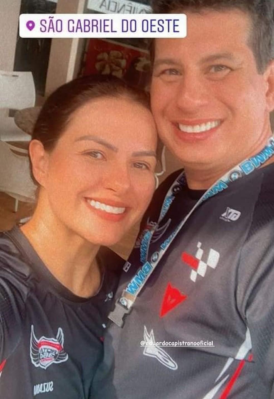 Ex-prefeito de Diamantino (MT) Eduardo Capistrano (PDT) e a mulher dele, Suzana Dalmolin já tinham passado por São Gabriel do Oeste (MS) — Foto: Arquivo pessoal