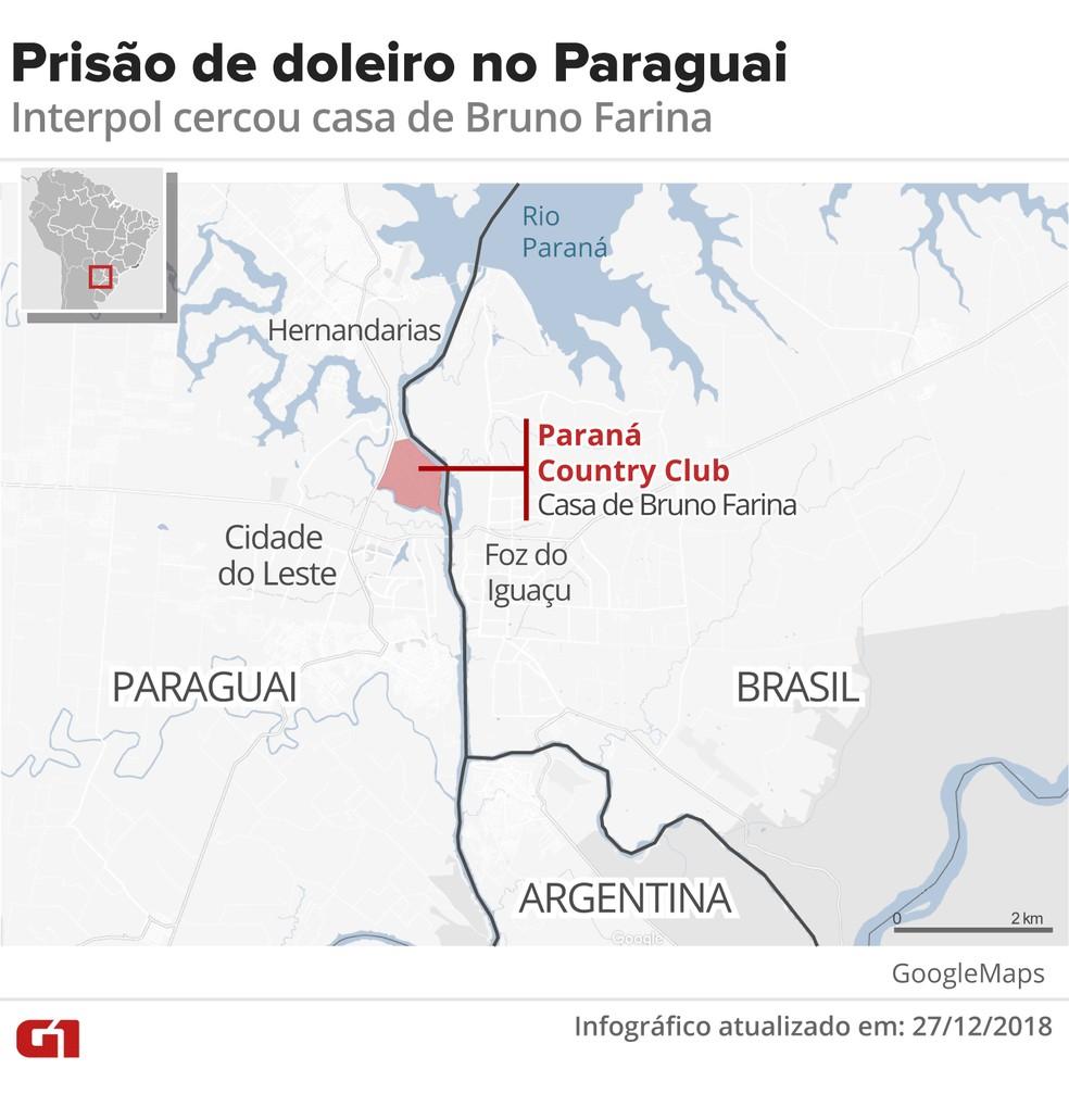 Prisão de doleiro no Paraguai: Interpol cercou casa de Bruno Farina em condomínio próximo a Ciudad del Este e Foz do Iguaçu — Foto: Infográfico: Karina Almeida / G1