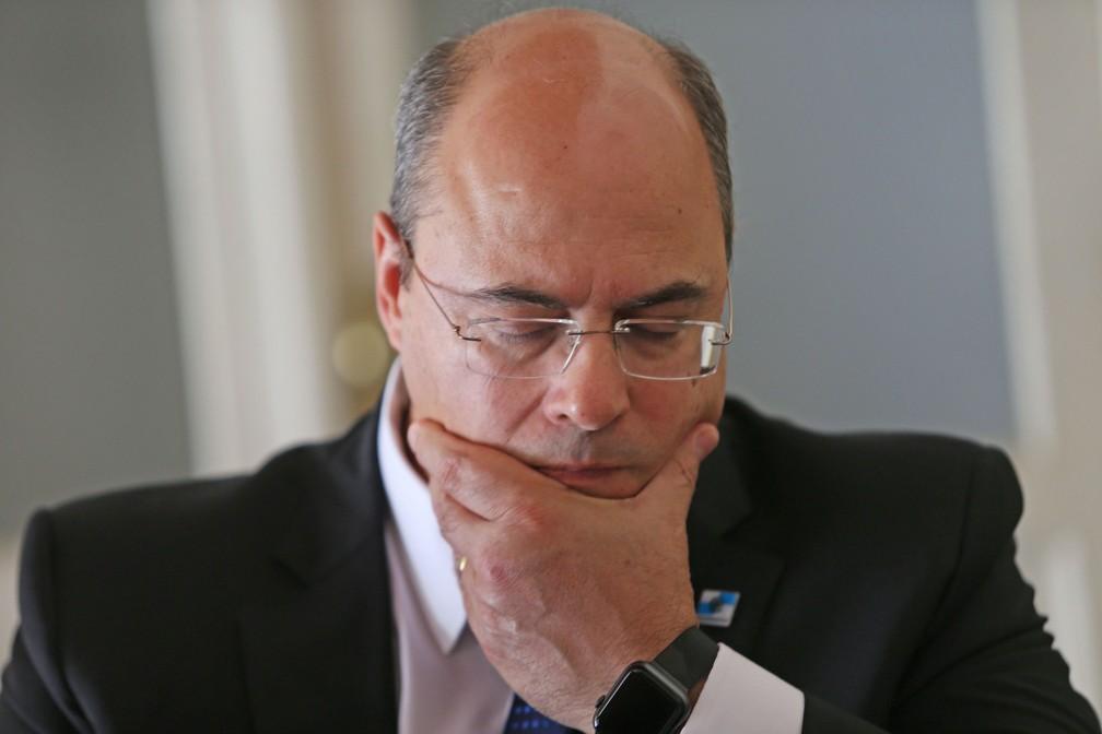 Foto de arquivo de 26 de março de 2020 do governador afastado do Rio de Janeiro, Wilson Witzel (PSC), no Palácio Guanabara, sede do governo estadual. — Foto: Wilton Junior/Estadão Conteúdo