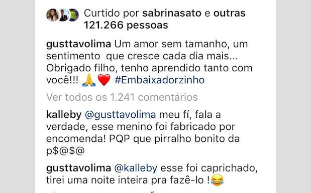Resposta de Gusttavo Lima a seguidor (Foto: Reprodução / Instagram)