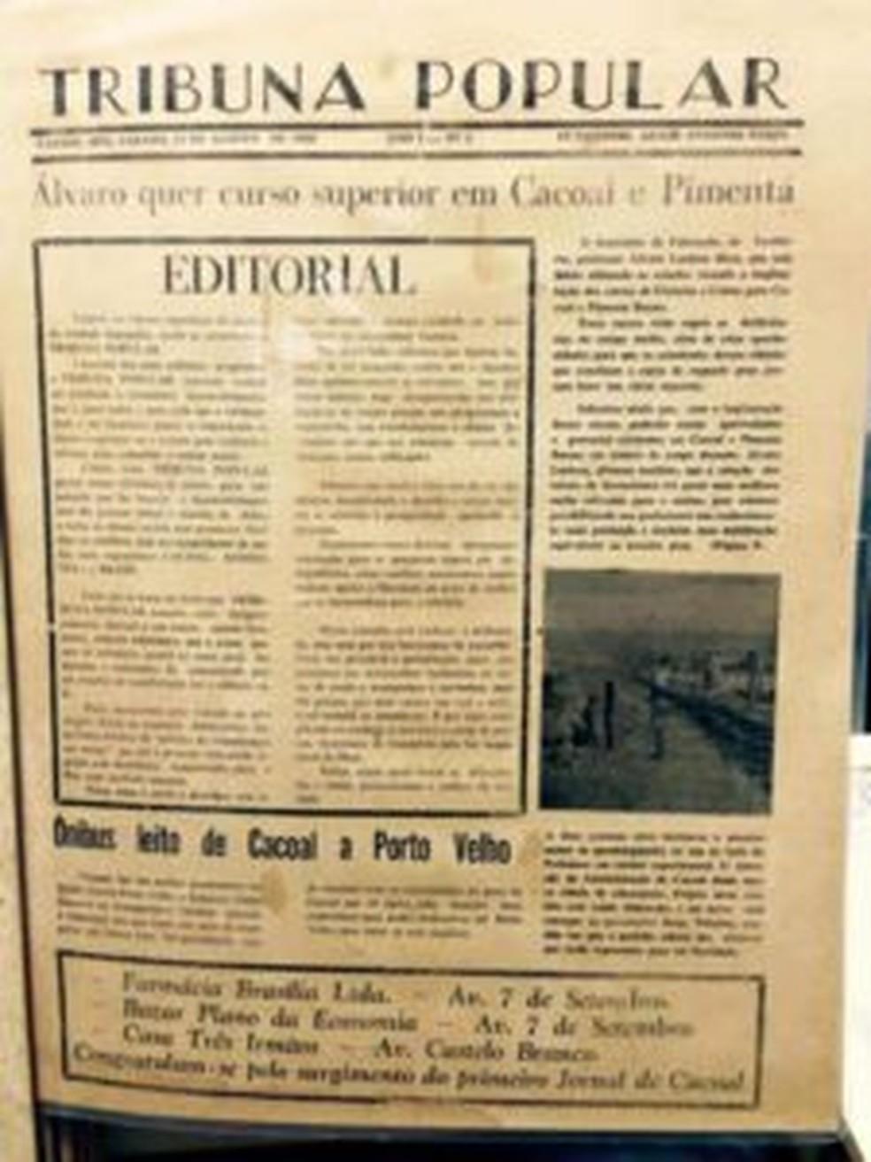 1ª edição do Jornal Tribuna Popular, que circulou em Cacoal por 41 anos — Foto: Reprodução